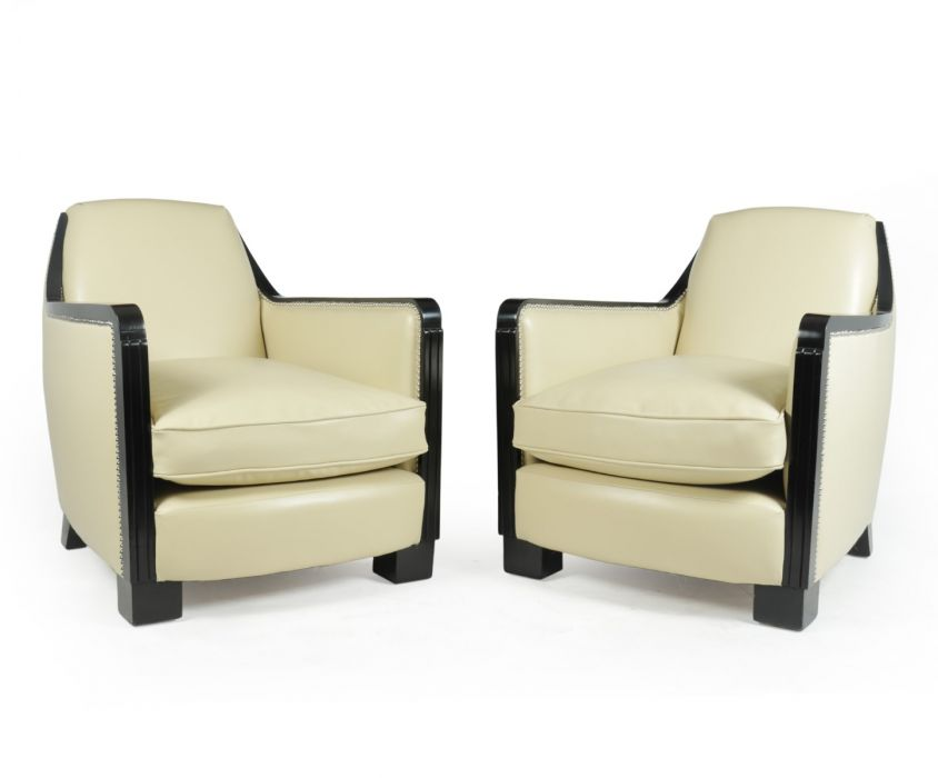 A Pair of Art Deco  Leather Armchairs