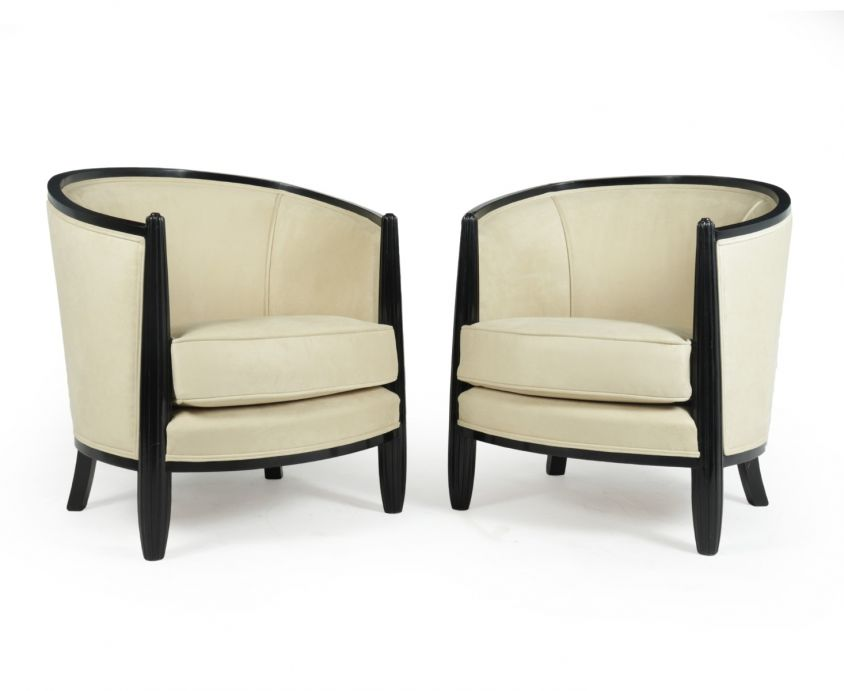 A Pair of Art Deco Lounge Armchairs by Paul Follot