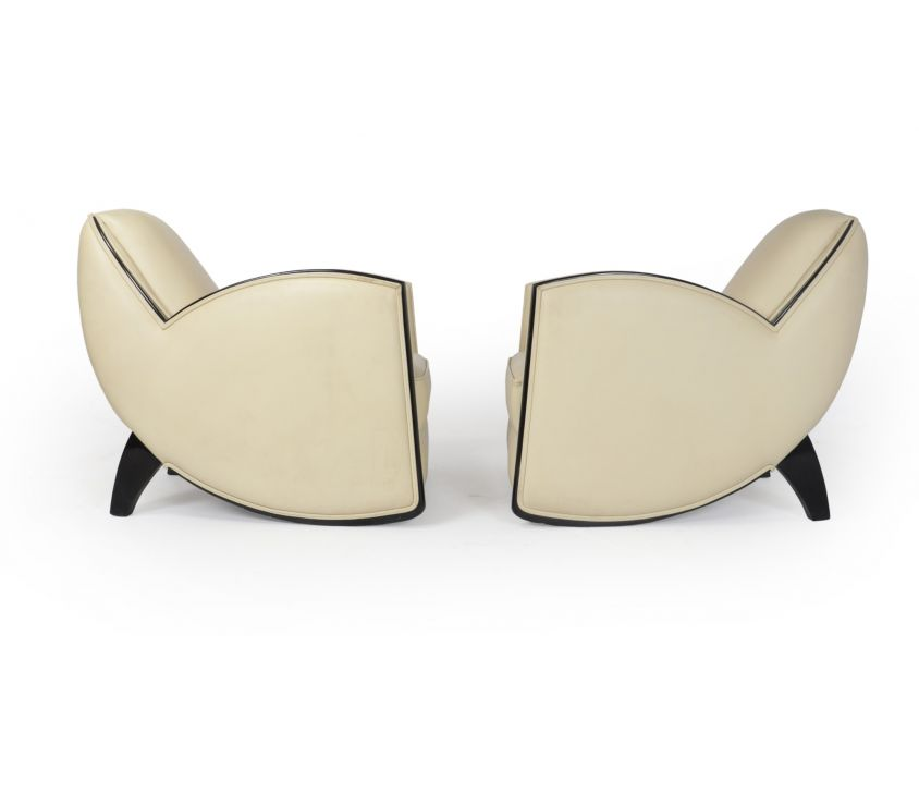 Art Deco Style Armchairs in Cream Leather
