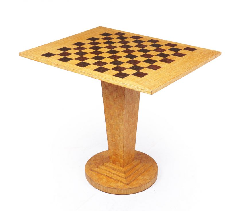 Art Deco Chess Table in Straw Work c1930