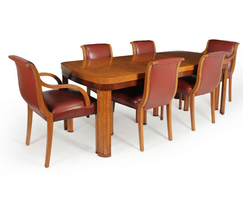 English Art Deco Dining Table And Chairs c 1930