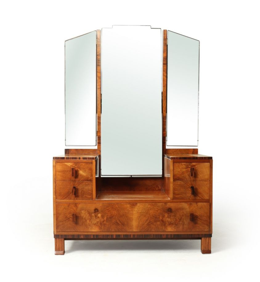 Art Deco Walnut and Macassar Dressing Table by Waring and Gillows c1930