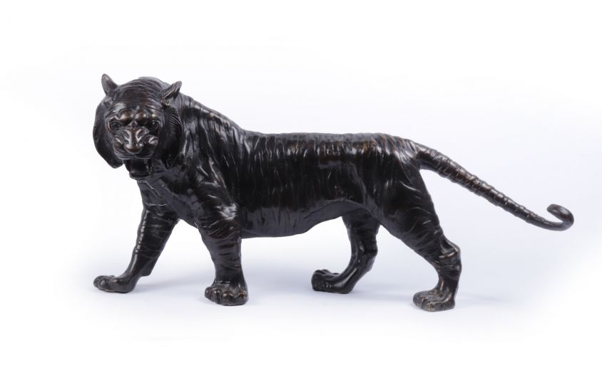 Bronze Tiger Sculpture c1950