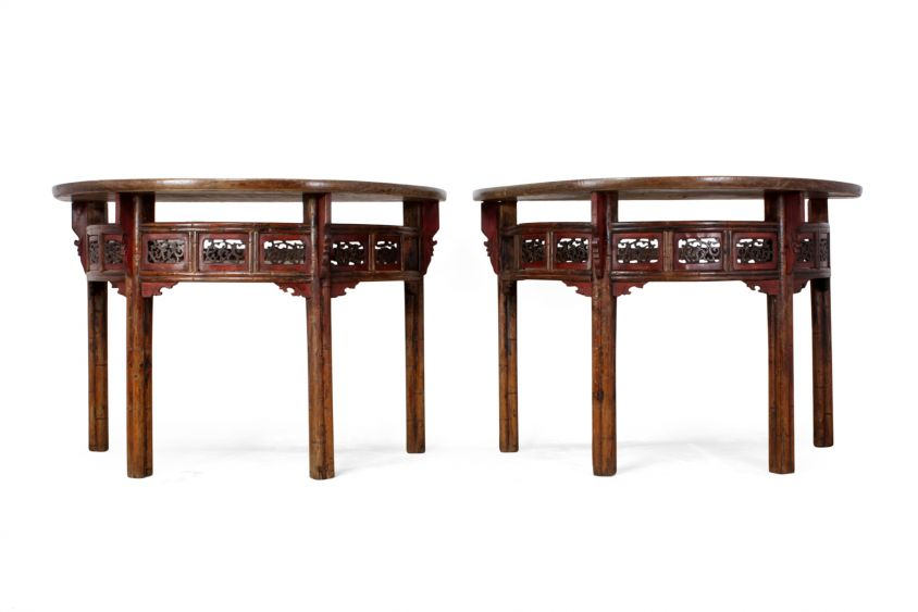 Pair of Chinese Half Moon Console Tables c1860