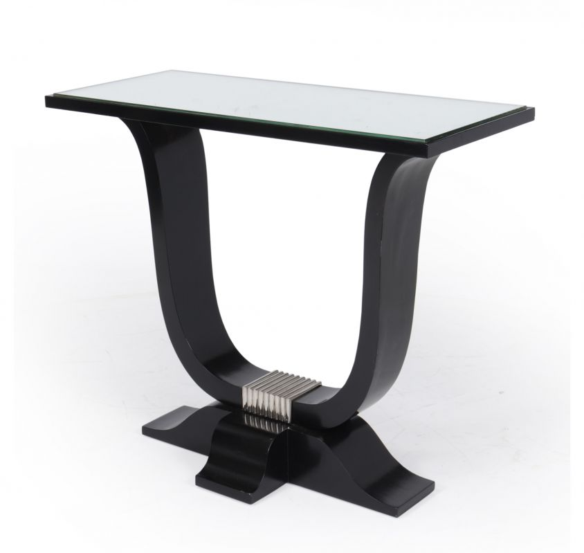 French Art Deco Side Table in Ebonised Lacquer c1920