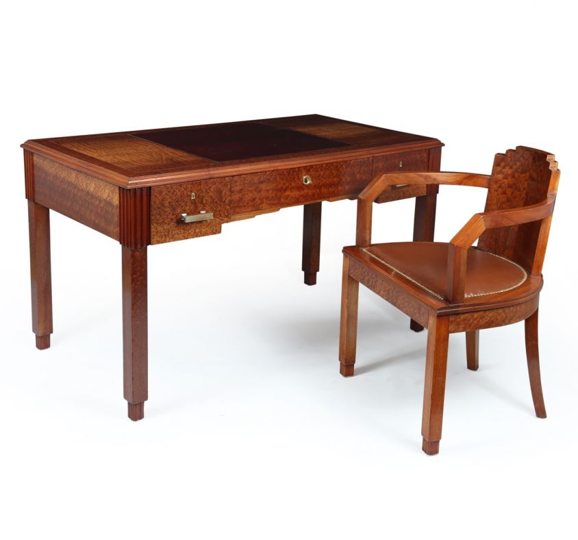 French Art Deco Desk and Chair
