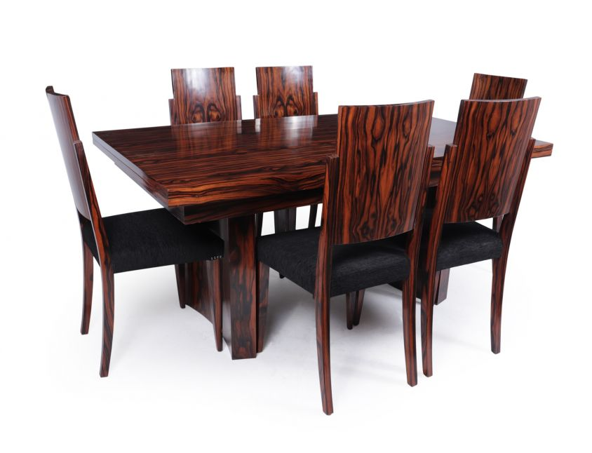 French Art Deco Dining Table and Chairs in Macassar Ebony