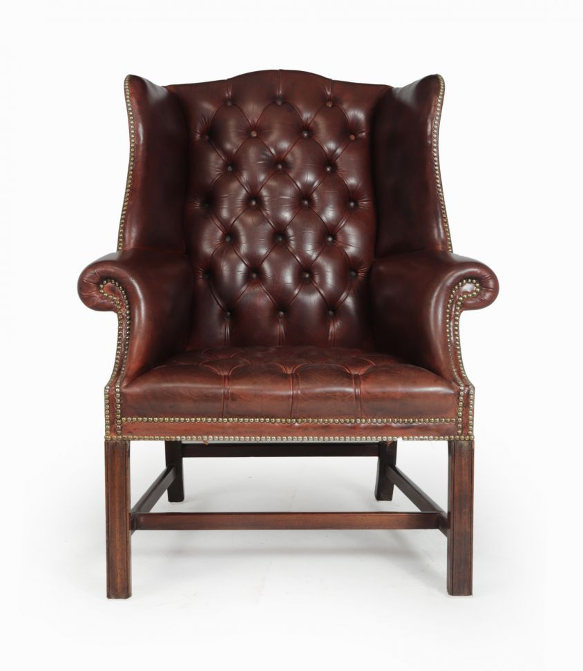 Georgian Style Buttoned Leather Wing Chair