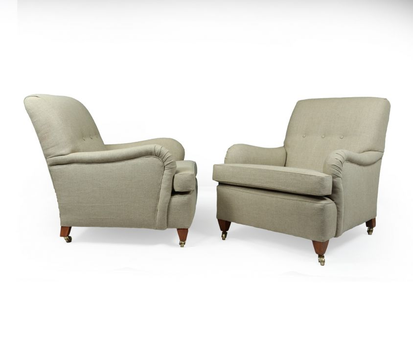 A Pair of Antique Howard style Armchairs c1910