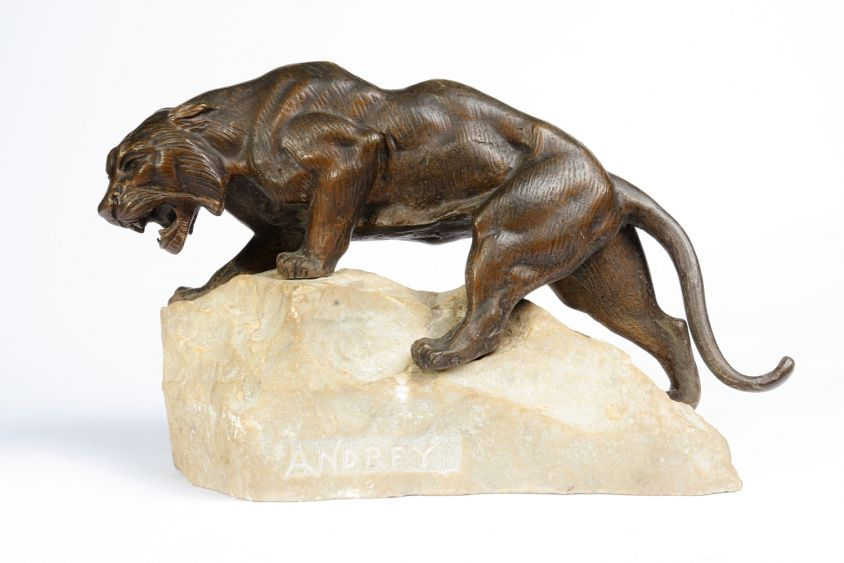 Bronze Tiger on a Rock by James Andrey – France c1920