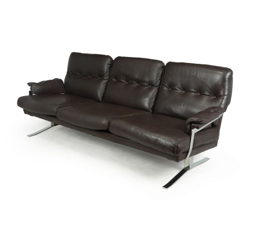 Mid Century  Chrome and Leather Sofa by Arne Norrell c1960