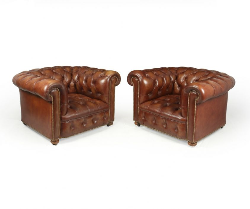 Vintage Leather Chesterfield Club Chairs
