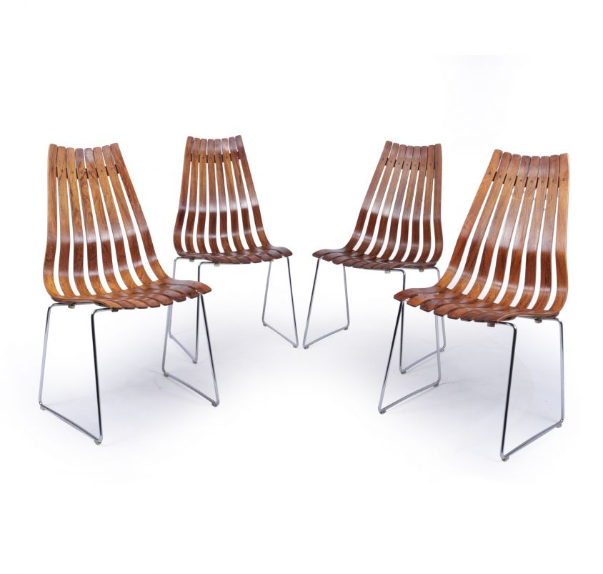 Mid Century Dining Chairs by Hans Brattrud for Hove Mobler, Set of 4