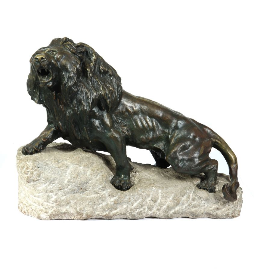 Large Bronze Lion on a Rock by Cartier c1920