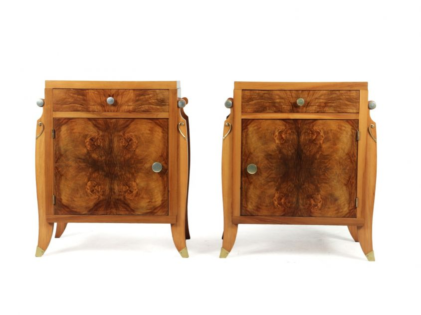 Pair of French Walnut Art Deco Bedside Cabinets