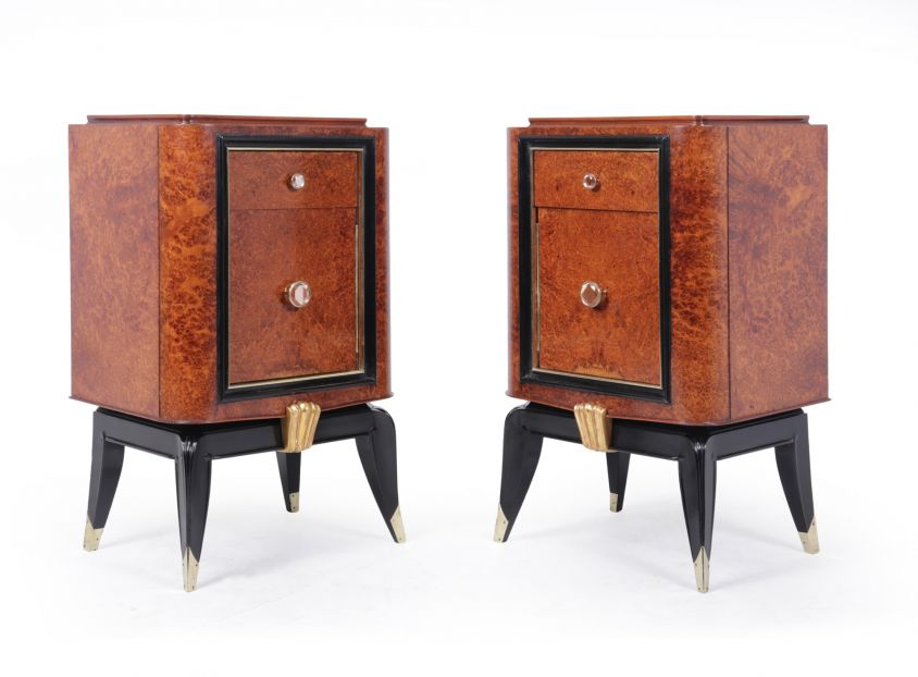 Pair of French Art Deco Amboyna Bedside Cabinets c1920