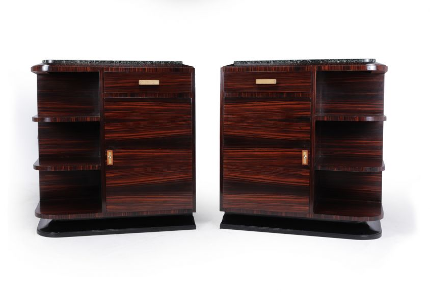 Pair of French Art Deco Macassar Ebony Cabinets