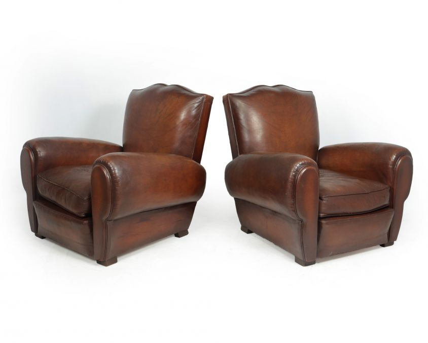 Pair of French Moustache Back Club Chairs