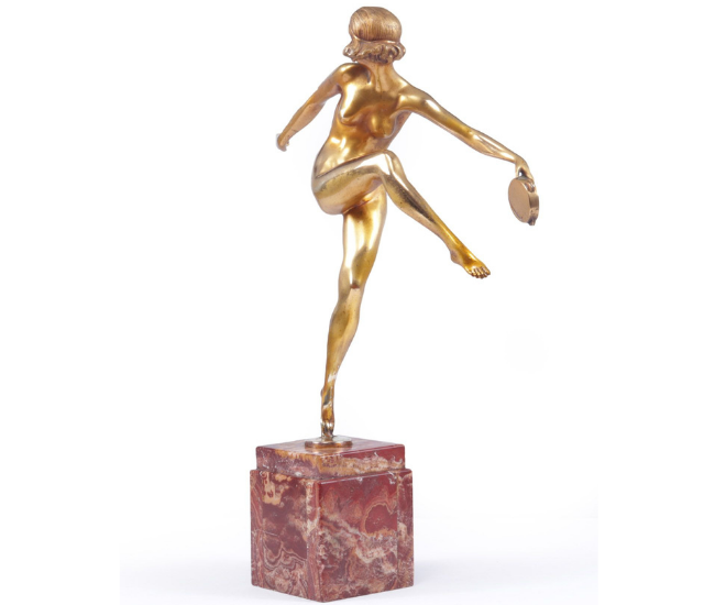 "Art Deco Gilt Bronze Sculpture ""Tamborine Dancer"" by Feguays c1925"